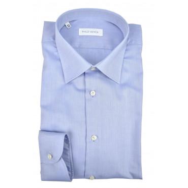 Man shirt light Blue Fabric No Iron Twill no Pocket - Philo Vance - N10