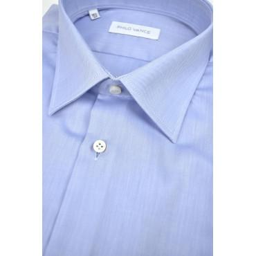 Camicia Uomo Azzurro Tessuto No Stiro Twill senza Taschino - Philo Vance - N10