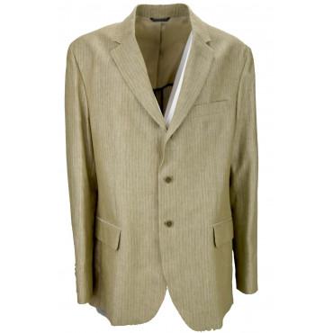 Men's Jacket 60 Pure Linen Beige Pinstripe Slimfit 2Buttons