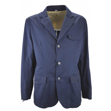 Men's Casual Jacket in Pure Cotton Dark Blue Solid Color 3 Buttons