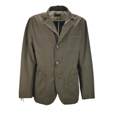 Men's Casual Jacket in Pure Cotton Brown 3Buttons