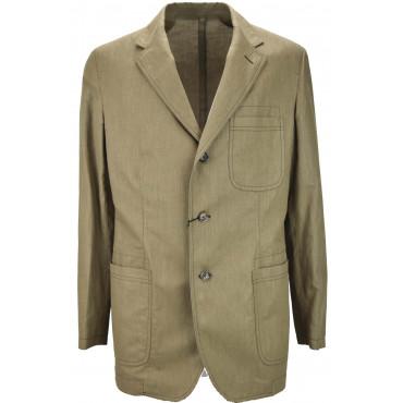 Men's Jacket 50 L Pure Linen Sand Beige Casual 3Buttons