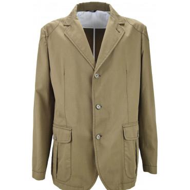 Jacket Man's Unlined Light Brown Pure Cotton 3Bottoni
