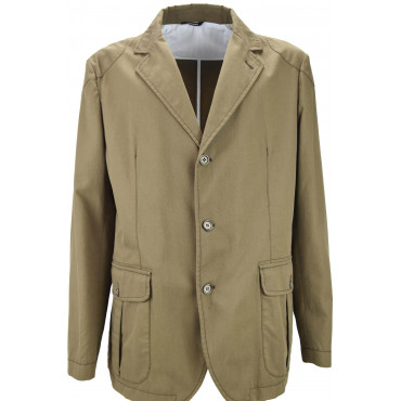 Unstructured Light Brown Pure Cotton Man Jacket 3 Buttons
