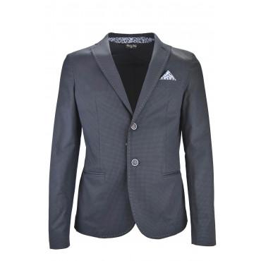 Men's Slim Short Jacket Dark Blue stitching and pochette