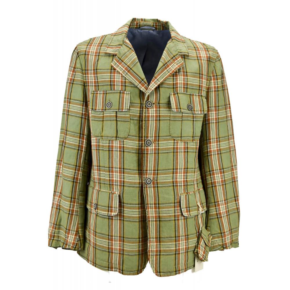 Men's Jacket Vintage Look Pure Cotton Beige 3Buttons