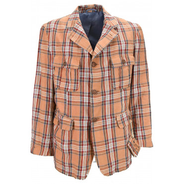 Men's Jacket Creative Look Orange Checks Scottish Pure Cotton