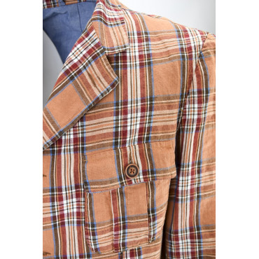 Men's Jacket Creative Look Orange Checks Scottish Pure Cotton