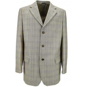 Jacket Man Frescolana Plaid Beige 3 Button Placket - Classic Fit