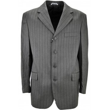 Men's Jacket Dark Gray Pinstripe Cotton-Wool 4 Buttons - Classic Fit