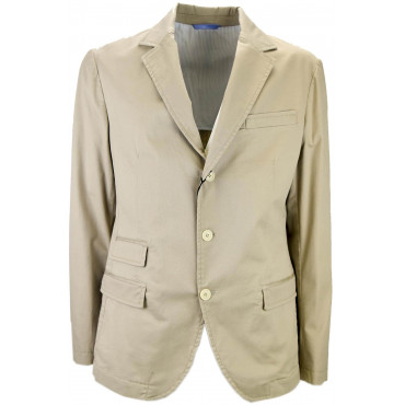 Unstructured Light Beige Man Jacket Pure Cotton 3 Buttons