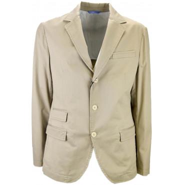 Unstructured Light Beige Man Jacket Pure Cotton 3 Buttons