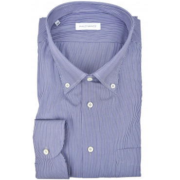 Homme shirt royal Bleu blanc rayures col Button-Down - Philo Vance - Coimbra