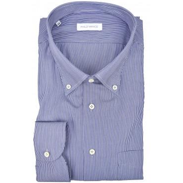 Man shirt royal Blue small white stripes Button-Down collar - Philo Vance - Coimbra
