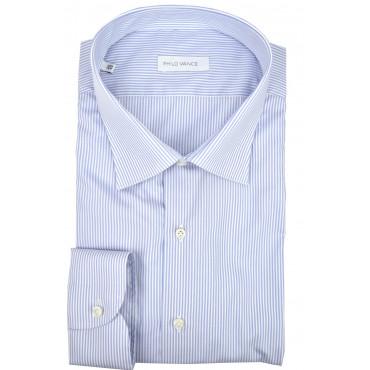 Camicia Uomo Celeste millerighe bianche collo Classico - Philo Vance - Gaeta