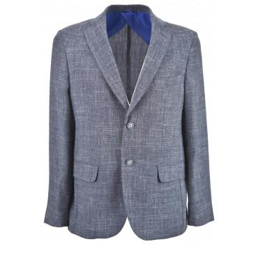 Men's Jacket Blue Flamed Mixed Linen Gauze 2 Buttons