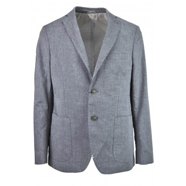 Jacket Man Slimfitt Grey Streaked with Patches 2Bottoni