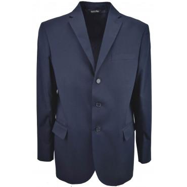 Jacket Men Dark Blue Cotton 3 Button Placket