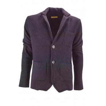 Knit jacket Man 46 S Gray Geometric design Black Wool blend 2 Button placket - Regular Fit