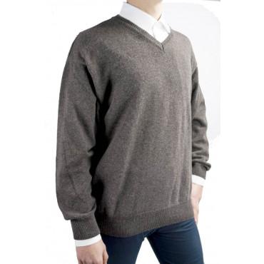 Jersey Man ScolloV Brown 54/56 XL Pure Cashmere