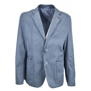 Jacket Casual Men's Unstructured, Small-Patterned Geometric Cotton 2 Buttons