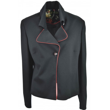Jacket Woman Blazer 50 Black Lapel Red border