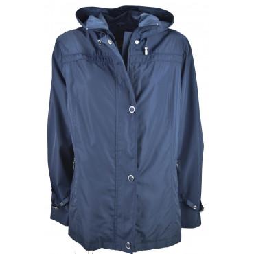 Giacca Impermeabile Donna Blu Calibrato Grandi Taglie con cappuccio - IKSask