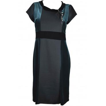 Abito Donna Tubino Elegante Nero e Verde Velluto elasticizzato con spilla