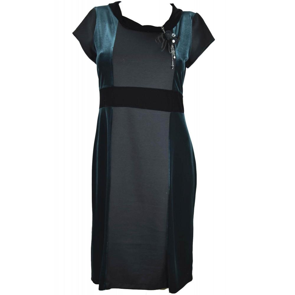 Damen kleid Etuikleid Elegant Schwarz und Grün Samt-stretch mit brosche