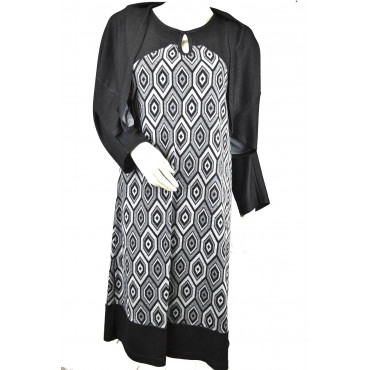 Dress Woman Dress with shawl XXL Shirt Grey Fancy Diamond Pierre Cardin