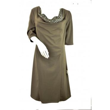 Dress Woman Dress 3/4 sleeve wide neckline polka dot Light Brown