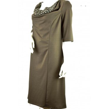 Woman Sheath Dress 3/4 sleeves wide neckline Polka Dots Light Brown