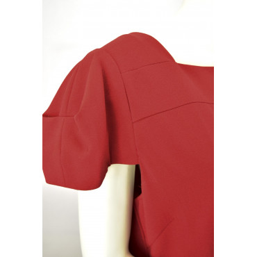 Women's Black Sheath Dress 48 3/4 sleeve wide neckline Black Polka dots