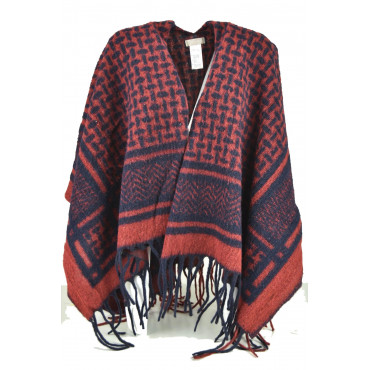 Poncho Women Wool Red and Blue with Fringe