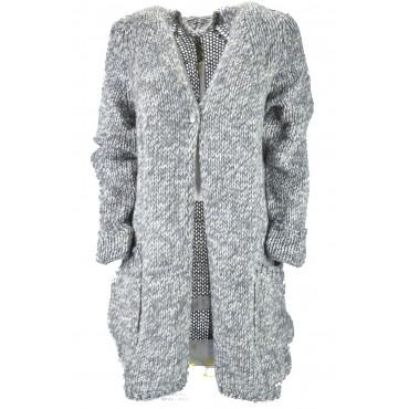 Long Cardigans Sweater Women Light Grey Melange