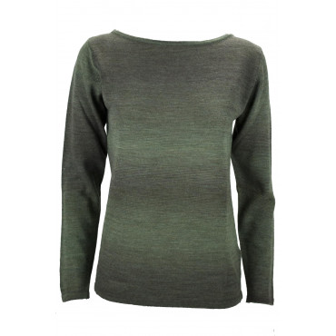 Crewneck Shirt Women Green Melange Merino Wool - Fit Straight