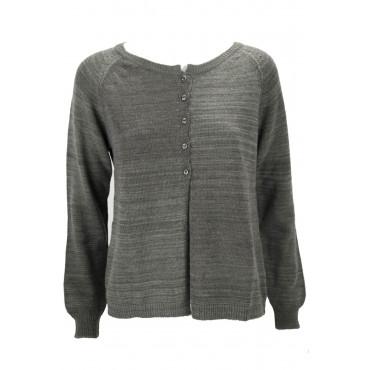 Knitted Cardigan Women Grey Dark Melange 3Fili - Dry Fit