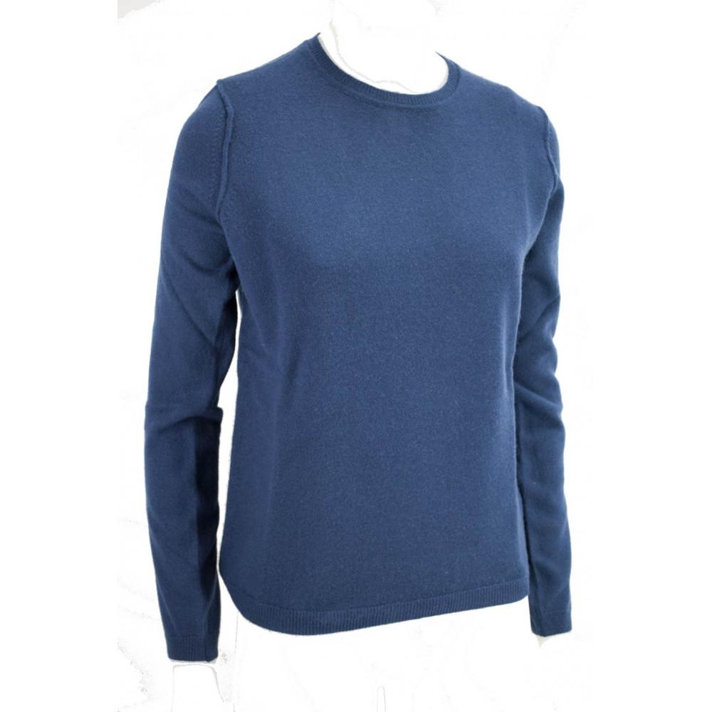 Crewneck shirt Woman Light Blue Cashmere 2Fili - Comfortable Fit