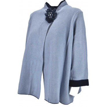 Knitted Cardigan ladies crew neck Classic Gray finish White