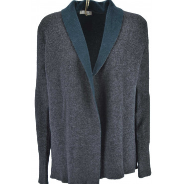 Knitted Cardigan Open Woman Dress gray finish green