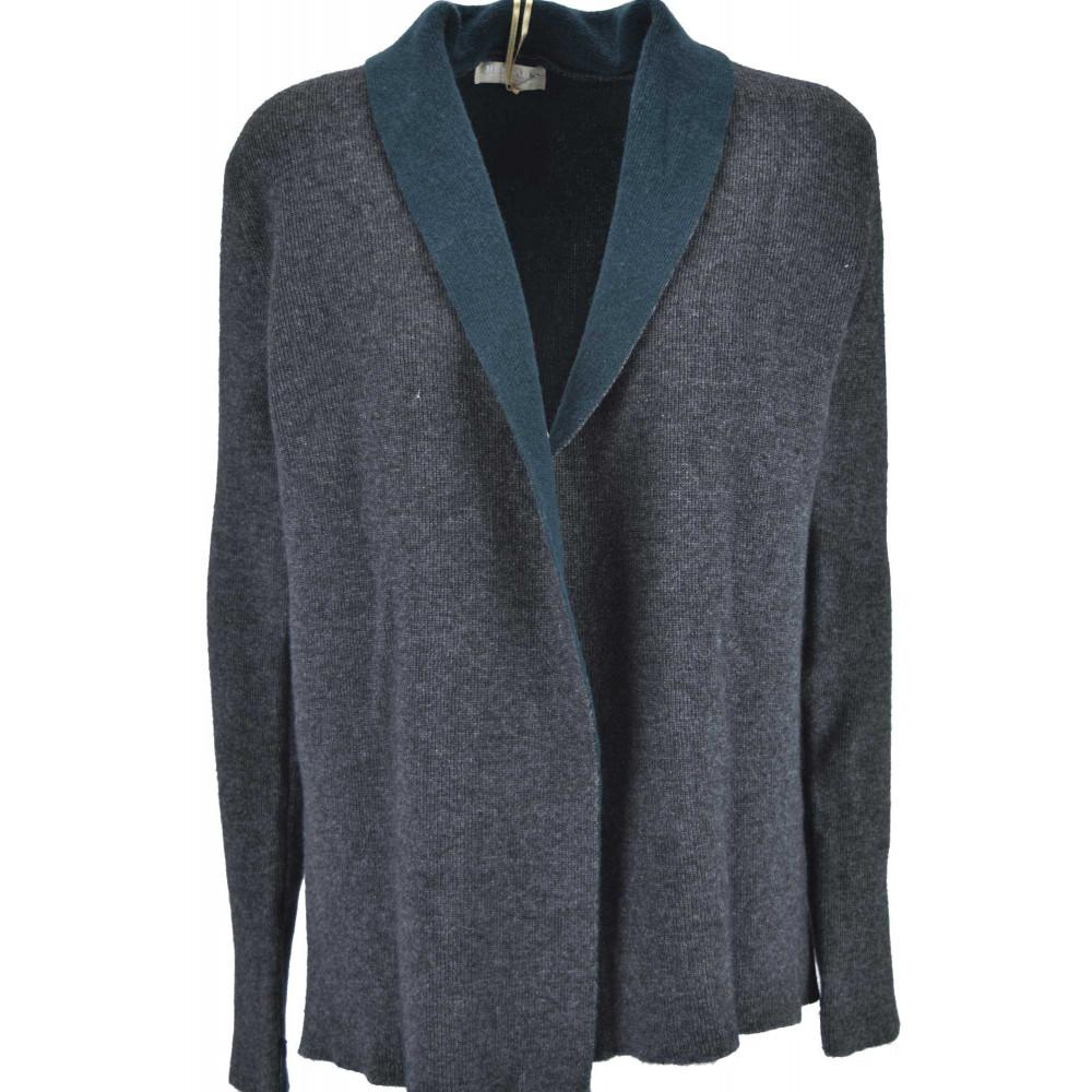 Knitted Cardigan Open Woman Dress gray finish green