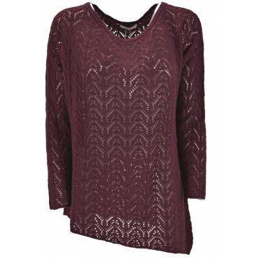 Dress Openwork Mesh Women's Bordeaux asymmetrical