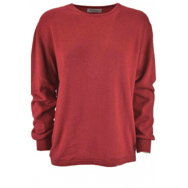 Knit Women's Crewneck Cashmere Silk Black, Red, White, Green - Comfortable fit