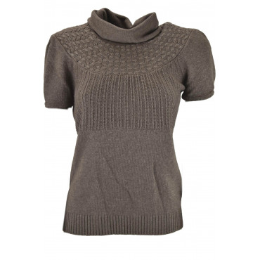Jersey Short Sleeves High Neck Woman Light Brown