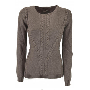 Shirt Woman Boat Neck with Braid Light Brown