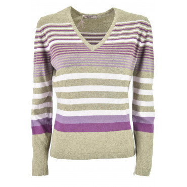 Mesh ScolloV Woman Beige Stripes Purple and Pink