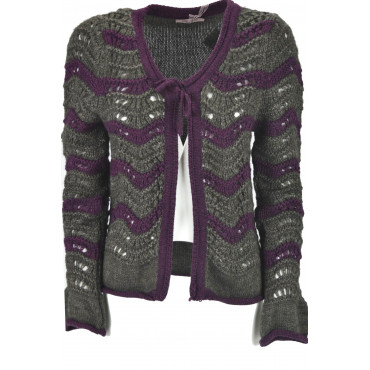 Knitted Cardigan Open Women's Brown and Cold Purple