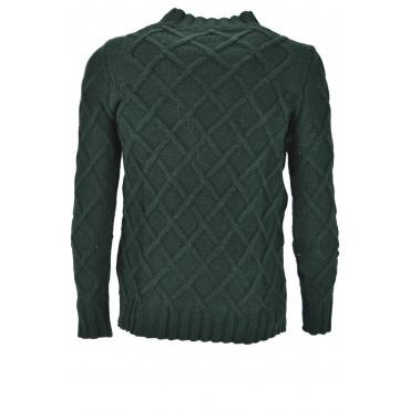 Mens Pullover Crew Neck Sweater Heavy Wool Diamonds