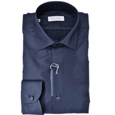 Man shirt Dark Blue Woven without a breast Pocket - Philo Vance - Bagnolo
