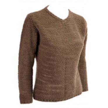 Jersey Woman ScolloV Slim XS 40 Brown 100% Cashmere - Yarn, Bouclé